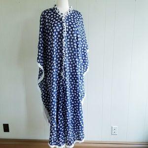 1970s DD Designs Navy Floral Maxi Dress